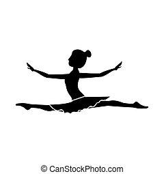 position, danseur, silhouette, lance