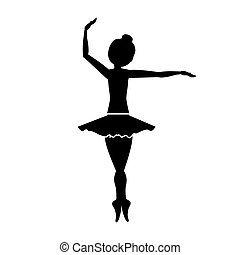 position, danseur, silhouette, quatrième, pirouette