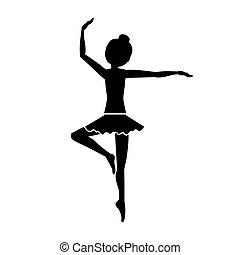 position, danseur, silhouette, troisième, pirouette