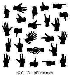 positions, différent, mains