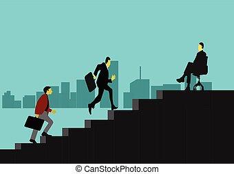 positions., escaliers., cadre, deux, hommes affaires, aller, escalade, ordre