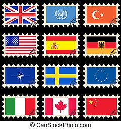 poste, drapeaux, timbres
