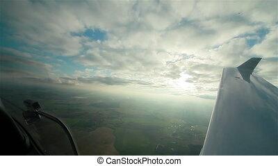 poste pilotage, avion, ciel, vue