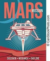 poster., espace, vendange, atterrissage, recherche, vecteur, fond, mars, vaisseau spatial