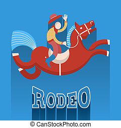 poster., rodéo, cheval, cow-boy