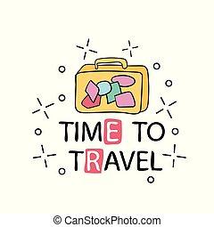 poster., travel., illustration, typographie, vecteur, inspirationnel, temps, dessiné, main
