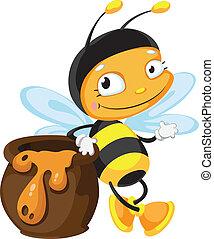 pot, abeille