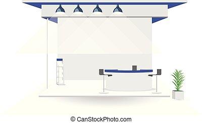 pot, grandiose, arbre, isolé, haut, .booth, stand, fond, vide, exposition, blanc, commercer, exposer, railler, design.