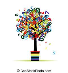 pot, numérique, arbre, ton, conception, rigolote