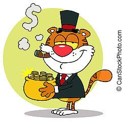 pot, porter, or, tigre, riche