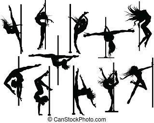 poteau, danseur, silhouettes