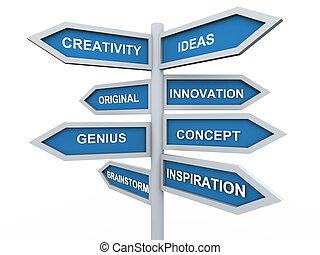 poteau indicateur, créativité, 3d