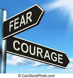 poteau indicateur, effrayé, courageux, courage, peur, ou, spectacles