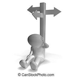 poteau indicateur, projection, confusion, homme, décision, 3d