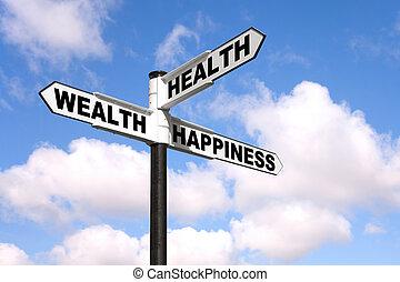 poteau indicateur, santé, richesse, bonheur