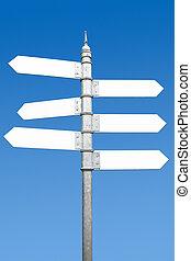 poteau indicateur, six, text., espaces, manière, vide, multidirectional