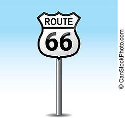 poteau indicateur, vecteur, route, 66