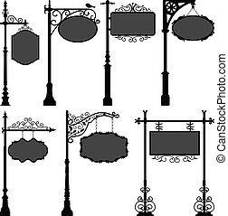 poteau, rue, signage, cadre, signe