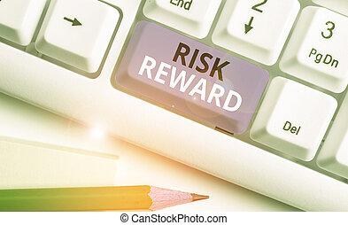 potentiel, évaluer, commercer, risque, profit, sien, concept, loss., signification, écriture, texte, relatif, reward.