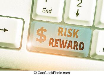 potentiel, commercer, risque, sien, écriture, évaluer, texte, relatif, reward., profit, concept, loss., signification, écriture