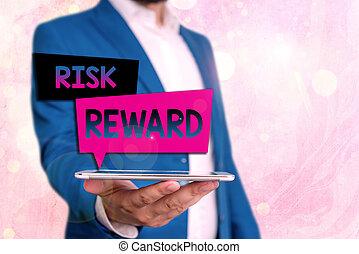 potentiel, commercer, risque, sien, évaluer, photo, texte, relatif, projection, conceptuel, signe, reward., profit, loss.