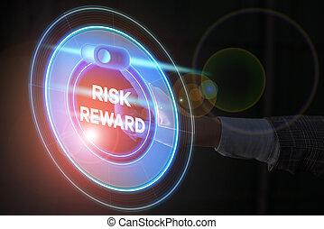 potentiel, commercer, risque, sien, évaluer, texte, relatif, reward., profit, concept, loss., signification, écriture