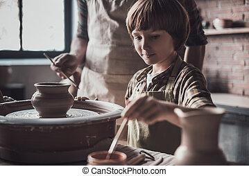 poterie, class., peu, sien, garçon, pot, céramique, dessin, apprécier, classe