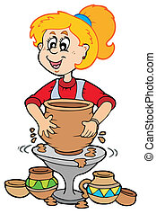 poterie, girl, dessin animé