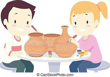 poterie, gosses, illustration, pots, peinture