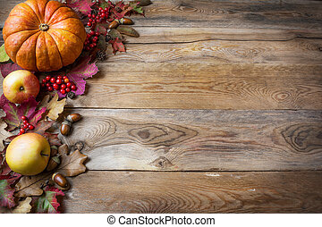 potirons, ou, feuilles, baies, automne, thanksgiving, salutation