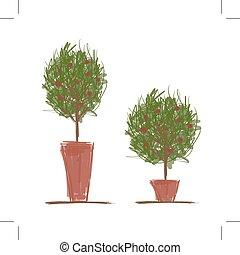 pots, conception, arbre, vert, ton