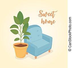 potted, maison, plante, décoration, sofa, bleu, doux