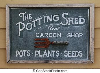 potting hangar, signe, vieux