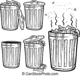 poubelles, croquis