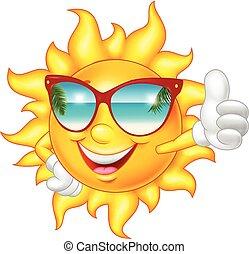 pouce, donner, soleil haut, sourire, dessin animé