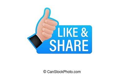 pouce, like., graphics., social, arrière-plan., blanc, média, signe., part, aimer, mouvement, main, haut.