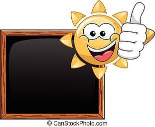 pouce, soleil, vide, haut, tableau noir, dessin animé