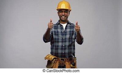 pouces, ouvrier, projection, heureux, constructeur, haut, ou, indien
