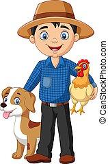 poule, paysan, dessin animé, chien, jeune
