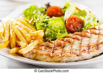 poulet grillé, poitrine