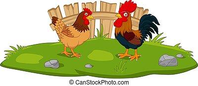 poulet, herbe, dessin animé, mignon