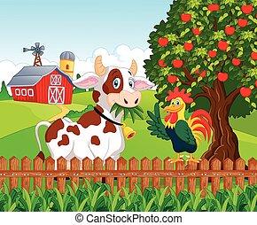 poulet, heureux, th, vache, dessin animé