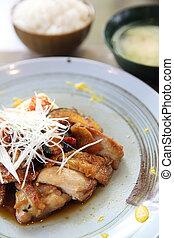 poulet, riz, teriyaki