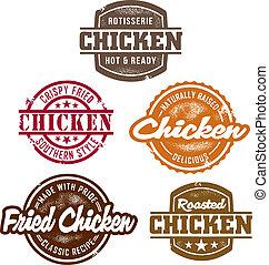 poulet, timbres, classique