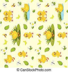 poulets, canetons, fleurs, printemps, seamless, insectes, fond