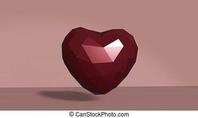 pouls, heart., animation, 3d, rouges, render, coeur