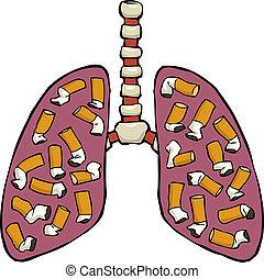 poumon, humain, cendrier
