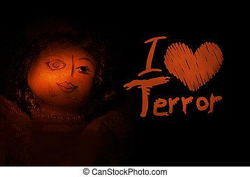 poupée, figure, terreur