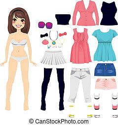 poupée, papier, mode, femmes