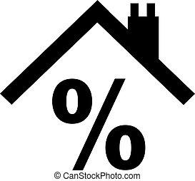 pourcentage, toit, signe